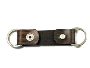 Modern Wood Grain Smoke Black Valet Double Ring Leather Key Chain