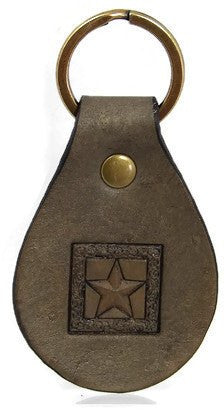 Square Star Leather Keychain