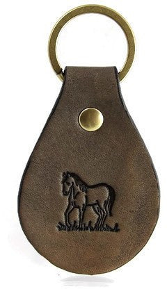Standing Horse Leather Keychain