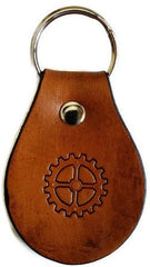 Steampunk 4 Spoke Gear Leather Keychain