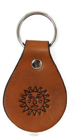 Sun Face Leather Keychain