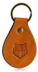 Wolf Head Leather Keychain Made in Montana Free Gift Wrap