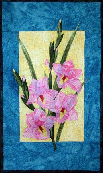Zebra Patterns Pink Gladiola Flower Applique Quilt Pattern