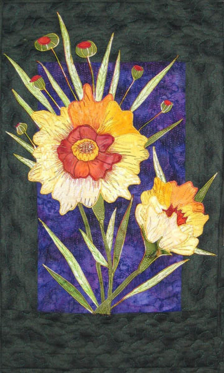 Zebra Patterns Yellow Coreopsis Flower Applique Quilt Pattern - Beaverhead Treasures LLC