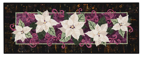Wildfire Designs Alaska White Poinsettia Too Table Runner Applique Quilt Kit and Fabric Kit