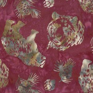 Hoffman Fabrics Ruby Red Grizzly Bear Bali Batik Fabric N2908-143-Ruby