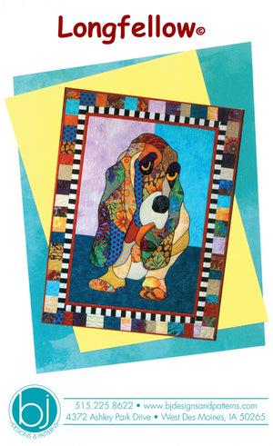 BJ Designs & Patterns Longfellow Basset Hound Dog Applique Quilt Pattern Front Cover