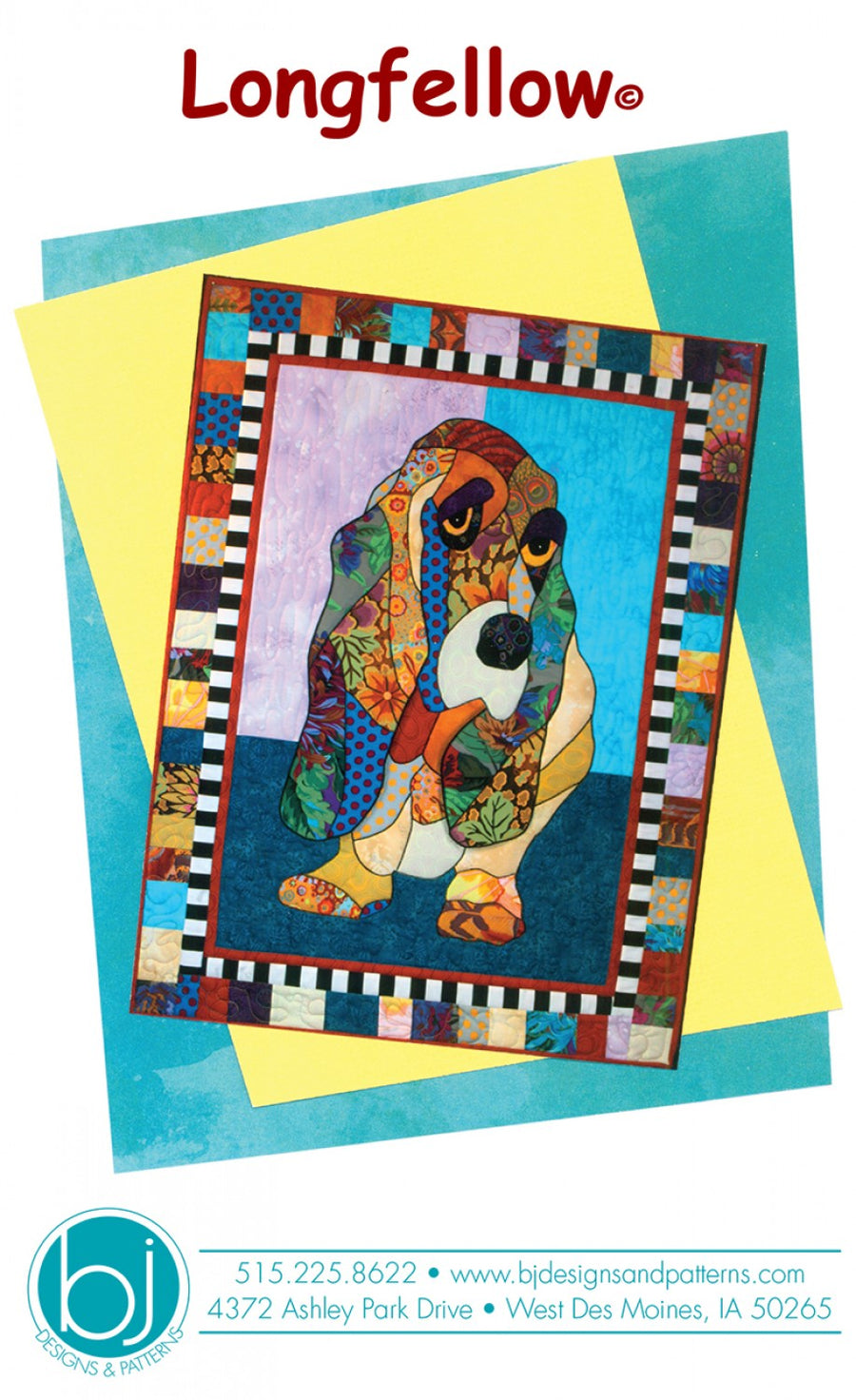 BJ Designs & Patterns Longfellow Basset Hound Dog Applique Quilt Pattern