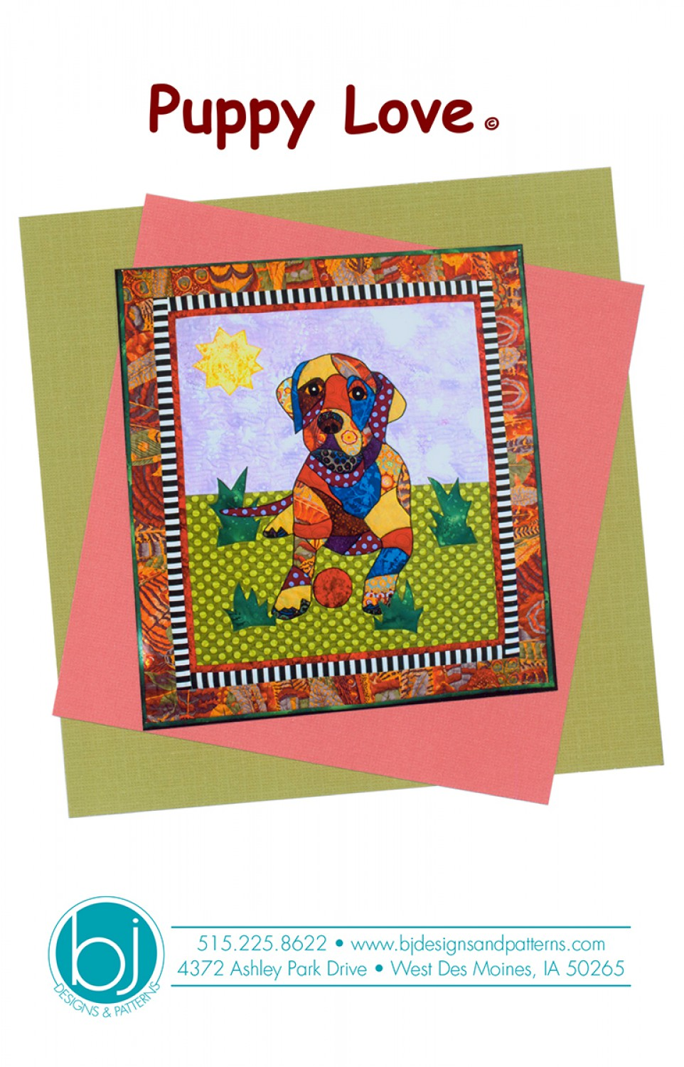 BJ Designs & Patterns Puppy Love Labrador Retriever Applique Quilt Pattern Front
