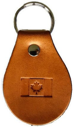 Canadian Flag Leather Keychain