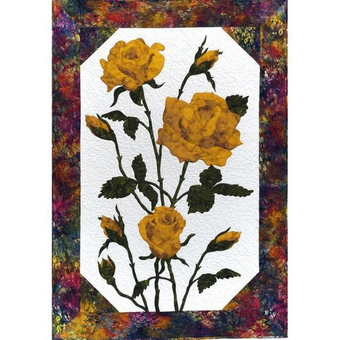 Cleo Designs Yellow Rose Flower Laser Pre-Cut Pre-Fused Applique Quilt Kit with Pattern