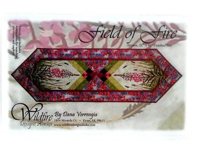 Wildfire Designs Alaska Field of Fire Table Runner Applique Quilt Pattern - Beaverhead Treasures LLC
