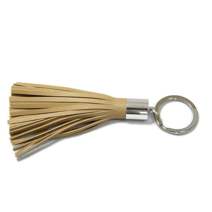 Cream Lambskin Leather Tassel Keychain with Rhodium Plated Brass Top Free Gift Wrap