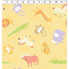Clothworks Gold Animal Toss Safari Sweet Organic Cotton Fabric Scale