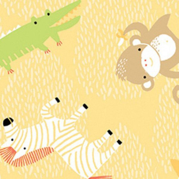Clothworks Gold Animal Toss Safari Sweet Organic Cotton Fabric Detail