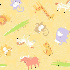 Clothworks Gold Animal Toss Safari Sweet Organic Cotton Fabric
