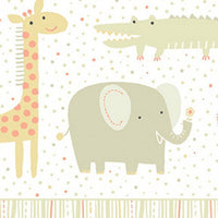 Clothworks Khaki Safari Sweet Organic Cotton Fabric Detail