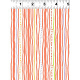 Clothworks Dark Orange Stripe Safari Sweet Organic Cotton Fabric Scale
