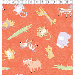 Clothworks Dark Orange Animal Toss Safari Sweet Organic Cotton Fabric Scale
