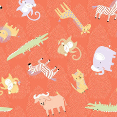 Clothworks Dark Orange Animal Toss Safari Sweet Organic Cotton Fabric