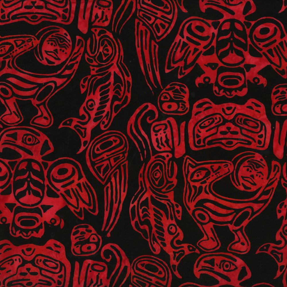 Hoffman Fabrics Red Totemic Animals Batik E223-5