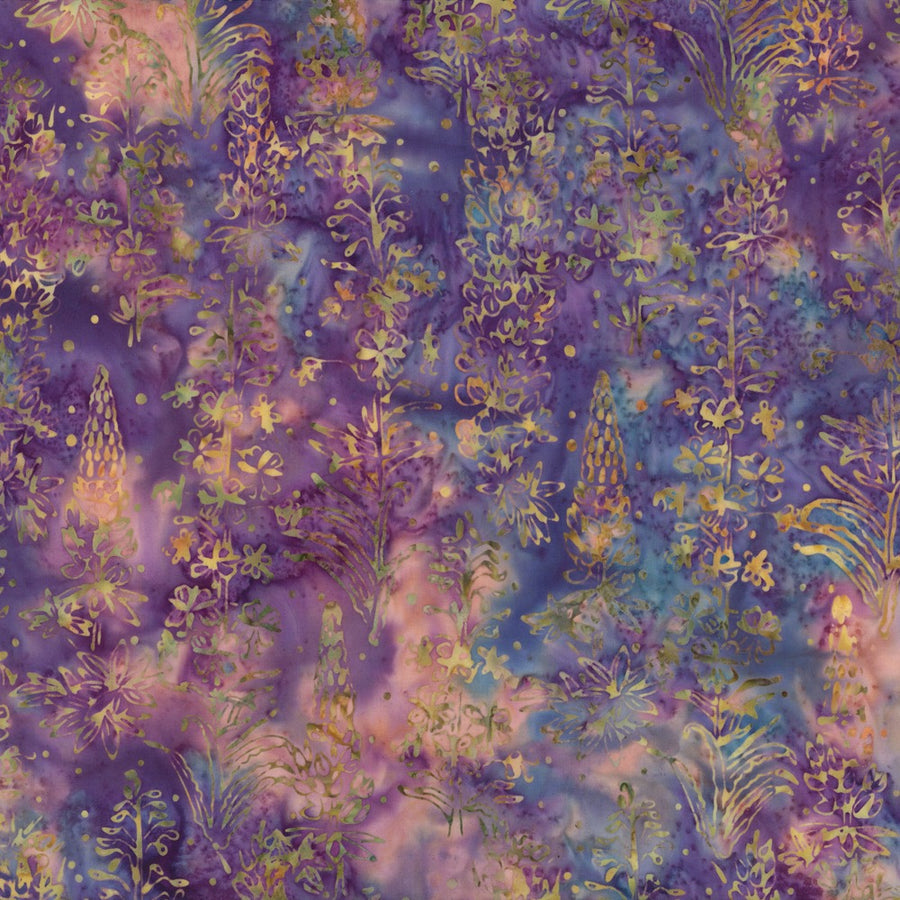 Hoffman Fabrics Boysenberry Lupine Flower Batik Fabric F2029-88-Boysenberry