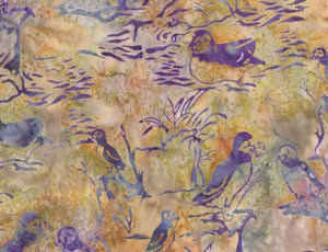 Hoffman Fabrics Opal Purple Puffin Bird Batik Fabric F2097-132-Opal
