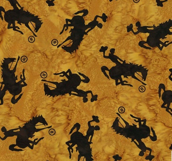 Hoffman Fabrics Dijon Yellow Medium Wyoming Bucking Horse  P2073-432-Dijon