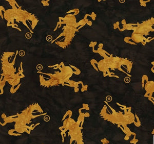 Hoffman Fabrics Cappuccino Brown Medium Wyoming Bucking Horse P2073-610-Cappuccino