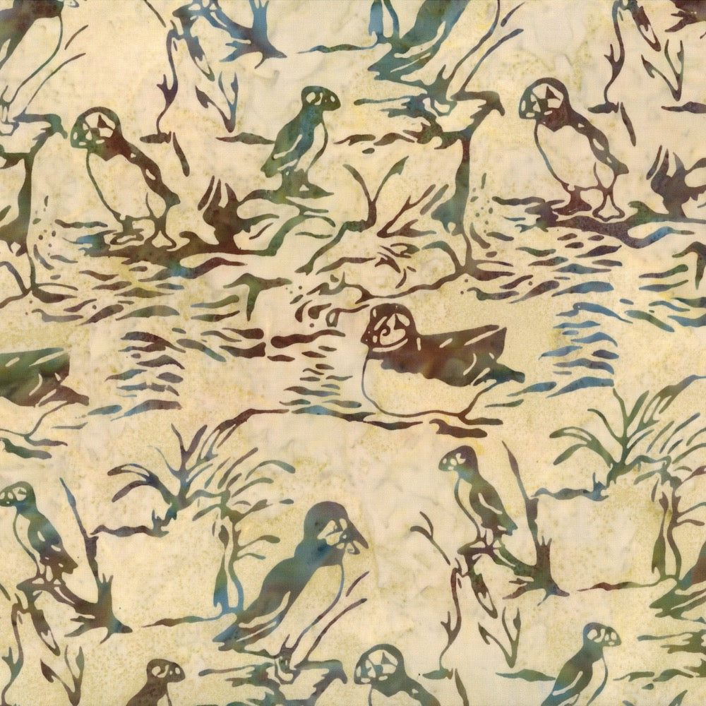 Hoffman Fabrics Natural Puffin Bird Batik Fabric F2097-20-Natural