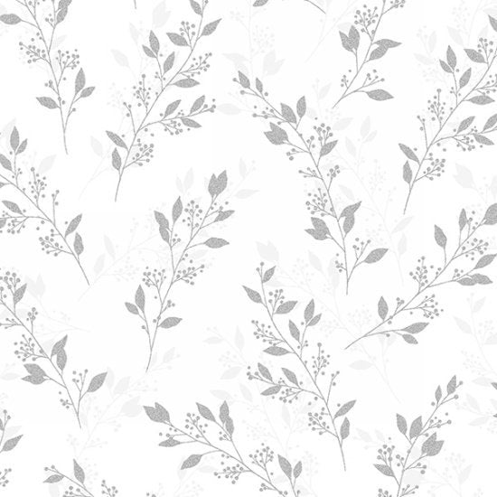 Hoffman Fabrics Sparkle and Fade Leaves with Berries Cotton Fabric S4700-3S-White-Silver