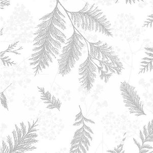 Hoffman Fabrics Sparkle and Fade Leaves with Flowers Cotton Fabric R4565-3S-White-Silver