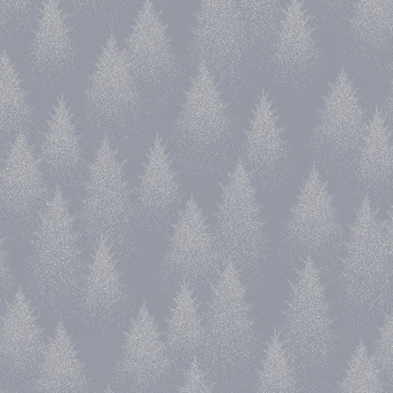 Hoffman Fabrics Sparkle and Fade Trees Cotton Fabric S4701-76S-Pewter-Silver