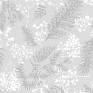 Hoffman Fabrics Sparkle and Fade Leaves with Flowers Cotton Fabric R4565-674S-Light-Grey-Silver