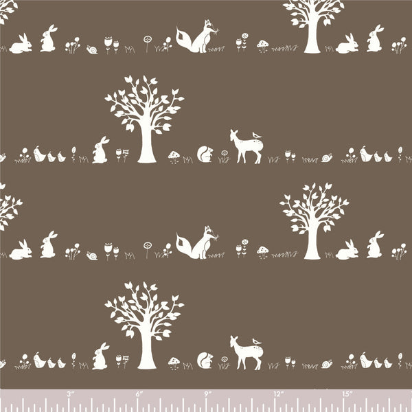 Birch Fabrics Forest Friends Brown Organic Cotton Fabric SD-05-Brown