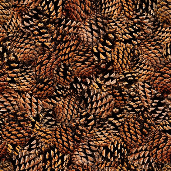 Hoffman Fabrics Fresh Freeze Pinecones S4718-141-Pine