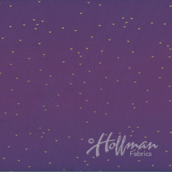 Hoffman Fabrics Me+You Purple Metallic Gold Batik Fabric 148-14G-Purple-Gold