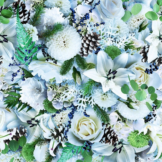 Hoffman Fabrics Fresh Freeze White Flowers S4716-679-Cool