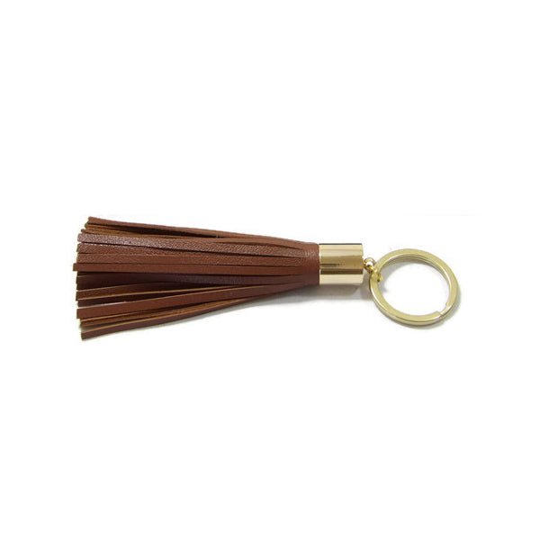 Mocha Brown Lambskin Leather Tassel Keychain with 14k Gold Plated Brass Top Free Gift Wrap