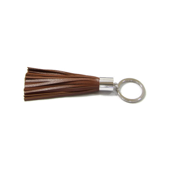 Mocha Brown Lambskin Leather Tassel Keychain with Rhodium Plated Brass Top Free Gift Wrap