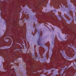 Hoffman Fabrics Pomegranate Red Purple Horse Bali Batik Fabric N2907-381-Pomegranate