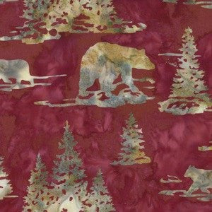 Hoffman Fabrics Ruby Red Black Bear Bali Batik Fabric N2910-143-Ruby