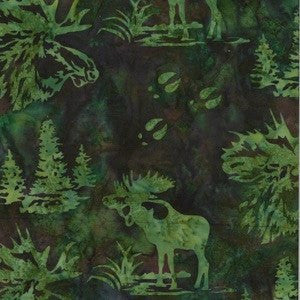 Hoffman Fabrics Earth Green Bull Moose Bali Batik Fabric N2911-58-Earth