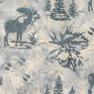 Hoffman Fabrics December Grey Bull Moose Bali Batik Fabric N2911-597-December