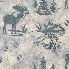 Hoffman Fabrics December Grey Bull Moose Bali Batik Fabric N2911-597-December - Beaverhead Treasures LLC