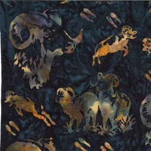 Hoffman Fabrics Moonstruck Blue Big Horn Sheep Bali Batik Fabric N2914-524-Moonstruck