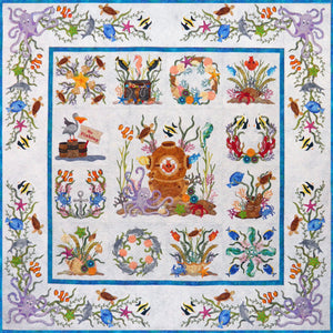 P3 Designs Octopus Garden Sea Ocean Beach BOM Applique Quilt Pattern Set