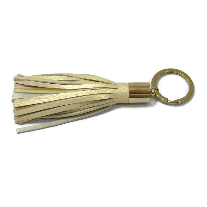 Pearlized Champange Lambskin Leather Tassel Keychain with 14k Gold Plated Brass Top Free Gift Wrap