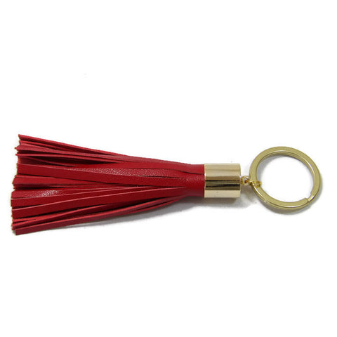 Red Lambskin Leather Tassel Keychain with 14k Gold Plated Brass Top Free Gift Wrap