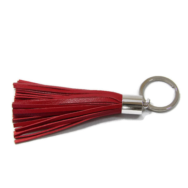 Red Lambskin Leather Tassel Keychain with Rhodium Plated Brass Top Free Gift Wrap